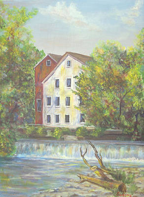 Painting - Prallsville Mill From Waterfall by Luczay