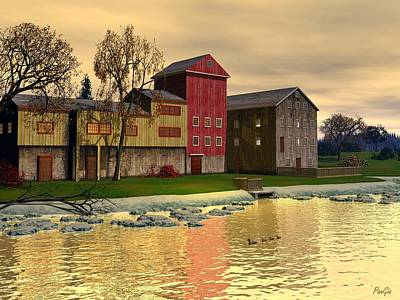Digital Art - Prallsville Mill by John Pangia
