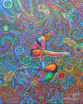 Visionary Art Painting - Prana Flow - 2014 by Karmym