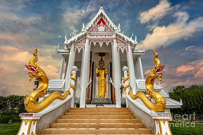 Building Exterior Digital Art - Pranburi Temple by Adrian Evans