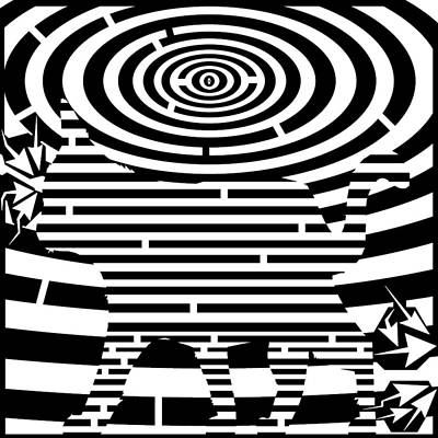 Trippy Maze Art Drawing - Prancing Kitty Cat Maze by Yonatan Frimer Maze Artist