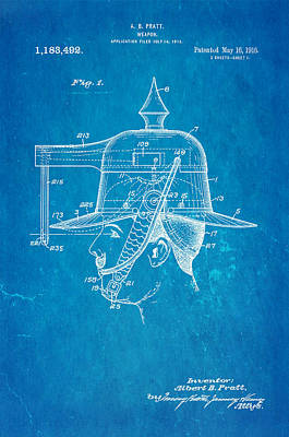 Pratt Weapon Hat Patent Art 1916 Blueprint Art Print by Ian Monk