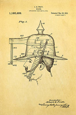 Pratt Weapon Hat Patent Art 1916 Art Print by Ian Monk