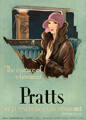 Vintage Automobile Drawing - Pratts  1930 1930s Uk Cc  Women Woman by The Advertising Archives