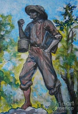 Bela Painting - Pratt's School Boy Statue by Emily Michaud