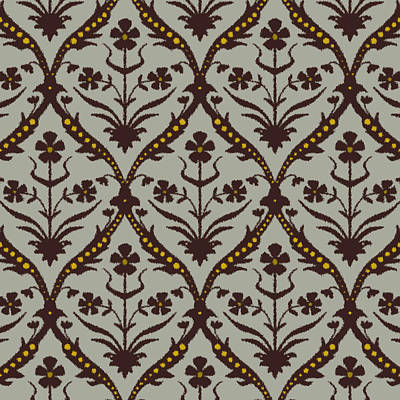 Damask Drawing - Praval Trellis Ikat by Sharon Turner