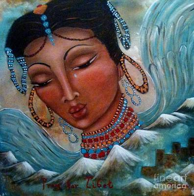Painting - Pray For Tibet by Maya Telford