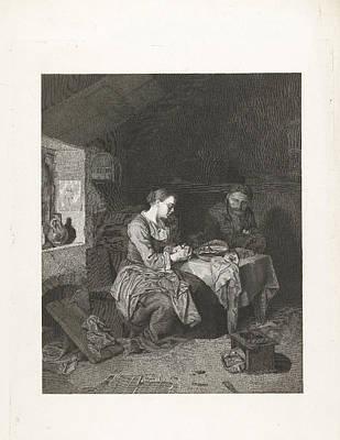 Hunk Drawing - Prayer Before Meals, Bega Friedrich Wilhelm Burmeister by Friedrich Wilhelm Burmeister
