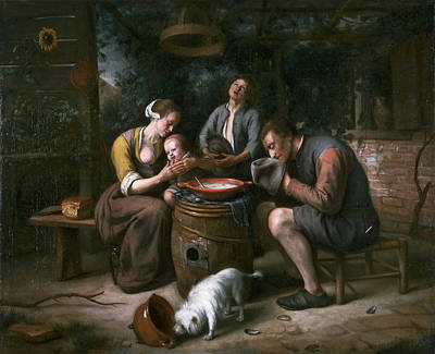 Painting - Prayer Before The Meal by Jan Steen