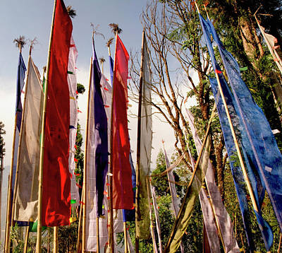 Prayer Flags At A Buddhist Monastery Art Print by Jaina Mishra