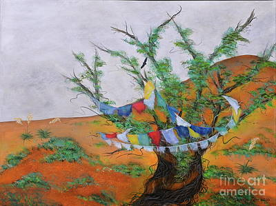 Painting - Prayer Flags by Deborha Kerr