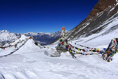 Photograph - Prayer Flags, Thorong La Pass, Nepal by Aidan Moran