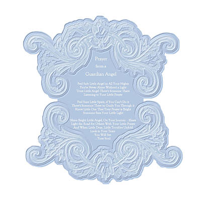 Prayer From A Guardian Angel - Blue Art Print by KM Russell