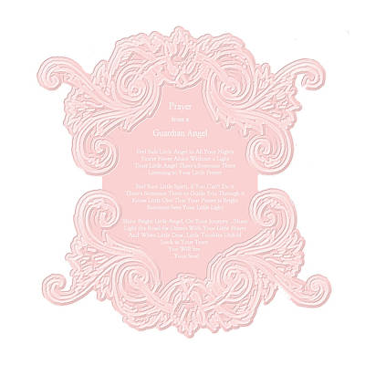 Prayer From A Guardian Angel - Pink Art Print by KM Russell