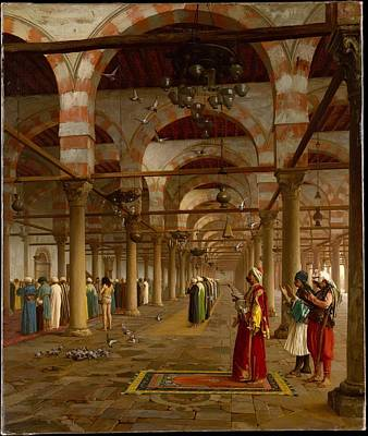 Prayer In The Mosque Art Print by Jean-Leon Gerome