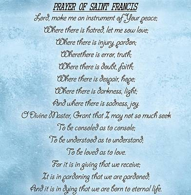 Prayer Of Saint Francis Art Print