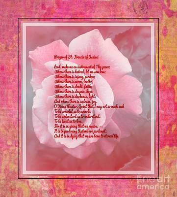 Faith Hope And Love Digital Art - Prayer Of St. Francis And Pink Rose by Barbara Griffin