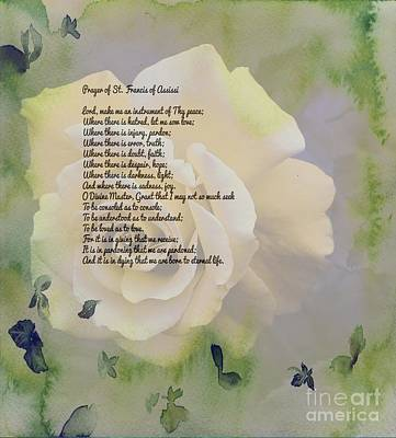 Prayer Of St. Francis And Yellow Rose Art Print by Barbara Griffin