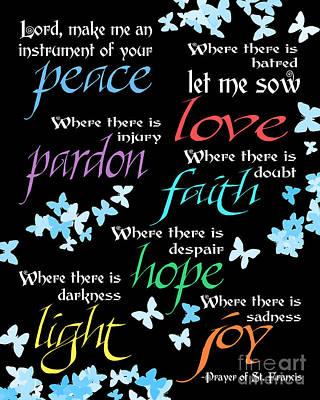 Prayer Of St Francis - Butterflies Art Print