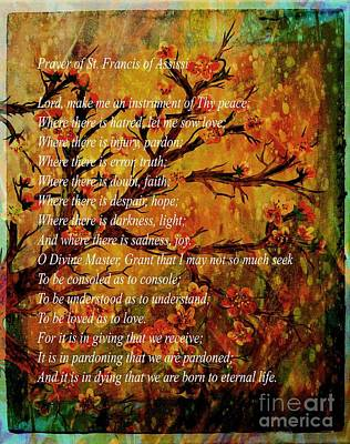 Prayer Of St. Francis Of Assisi  And Cherry Blossoms Art Print by Barbara Griffin