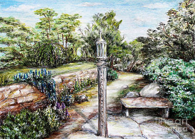 Drawing - Prayer Wheel At Pacifica's Lambert Campus- Postcard by Danuta Bennett