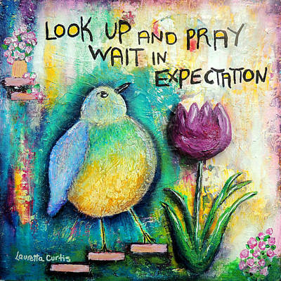 Painting - Praying And Waiting Bird by Lauretta Curtis