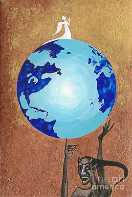 The Universe Painting - Praying Angel by Margaryta Yermolayeva