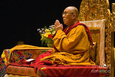 Photograph - Praying Dalai Lama by Craig Lovell