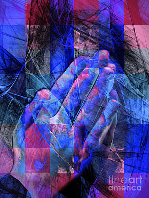 Praying Hands 20150302v2 Color Squares Coollb Art Print