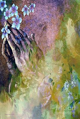 Praying Hands And Flowers Art Print by Annie Zeno