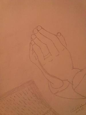New Drawing - Praying Hands  by Erica  Darknell
