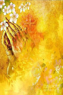 Painting - Praying Hands Flowers And Cross by Annie Zeno