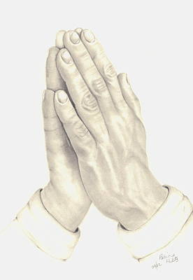 Art Print featuring the drawing Praying Hands by Patricia Hiltz