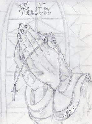 Drawing - Praying Hands by Susan Turner Soulis