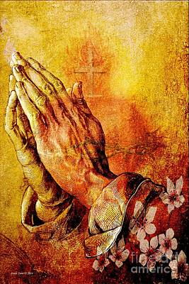 Painting - Praying Hands With Sacred Heart by Annie Zeno