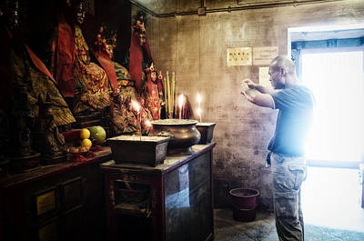 Praying Man In Man Mo Temple Original by Thierry CHRIN