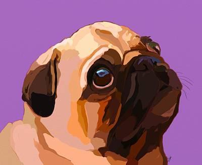 Puggle Painting - Praying Pug by Patti Siehien