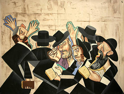 Cubists Digital Art - Praying Rabbis by Anthony Falbo