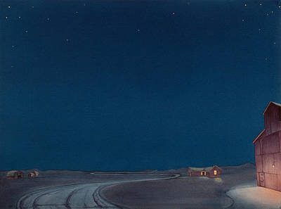 Grain Elevator Painting - Pre-dawn On The Hi Line II by Scott Kirby