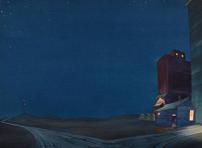 Grain Elevator Painting - Pre-dawn On The Hi Line IIi by Scott Kirby