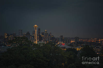 Seattle Skyline Photograph - Pre-dawn Seattle by Gene Garnace