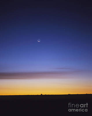 Pre-dawn Sky With Waning Crescent Moon Art Print
