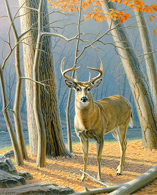 Whitetail Deer Painting - Pre-flight- Whitetail Buck by Paul Krapf