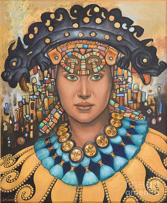Gold Necklace Painting - Pre-inca 3 by Jane Whiting Chrzanoska