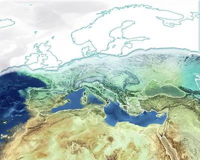 Miocene Photograph - Pre-zanclean Flood Mediterranean by Claus Lunau