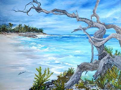 Wells Harbor Painting - Preacher's Cave Beach Bahamas by Barbara Babz Dalton