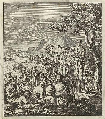 Jordan Drawing - Preaching Of John The Baptist On The Banks Of The Jordan by Jan Luyken And Jan Rieuwertsz. Ii And Barent Visscher