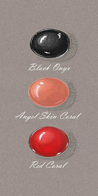 Opaque White Painting - Precious Colored Gemstones Red by Marie Esther NC