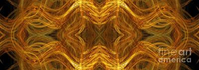 Pano Digital Art - Precious Metal 3 Ocean Waves Dark Gold by Andee Design