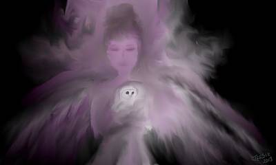 Digital Art - Precious Owl Angel by Jessica Wright